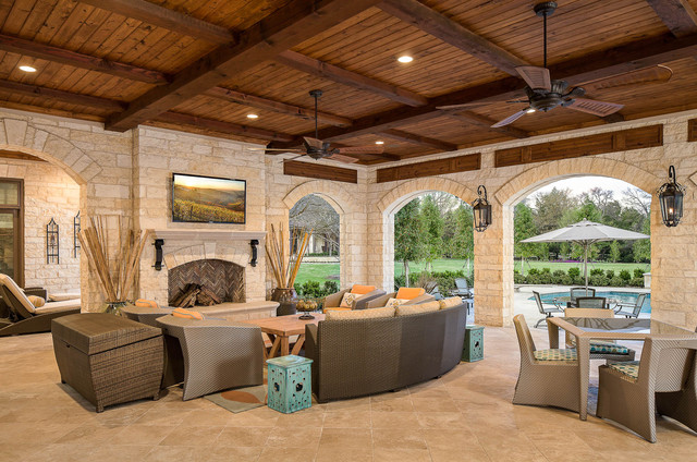 craftmade fans Patio Traditional with arches covered patio Fireplace