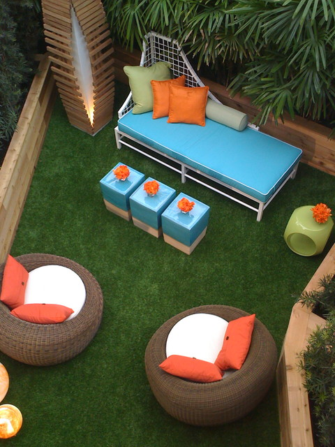 Crate And Barrel Outdoor Furniture Patio Contemporary With Artificial Turf  Bold Colors