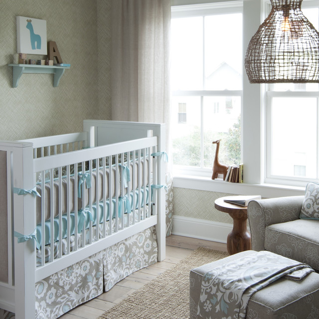 Crib Changer Combo Nursery Transitional with Area Rug Arm Chair