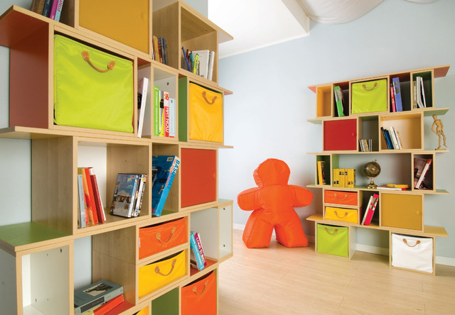 Cubby Storage Kids Contemporary with Bookcase Bookshelves Colorful Cubbies
