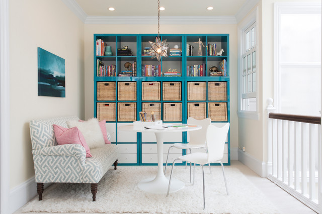 Cube Bookshelf Home Office Transitional with Blue and White Blue