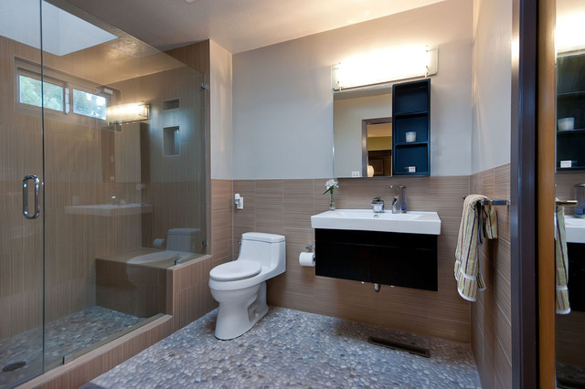 Cubicle Clips Bathroom Contemporary with Floating Vanity Glass Shower