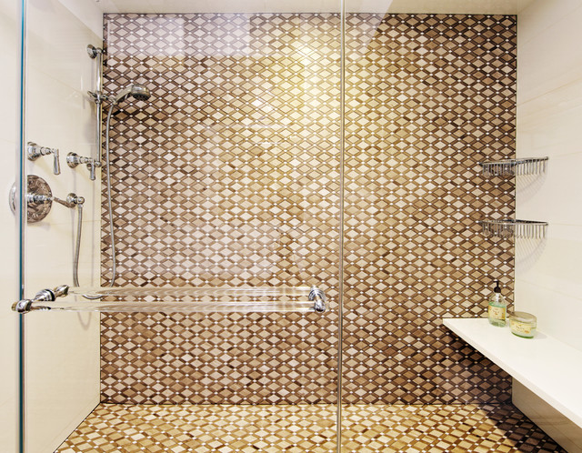 Cubicle Shelf Bathroom Transitional with Brown Tile Handshower Id