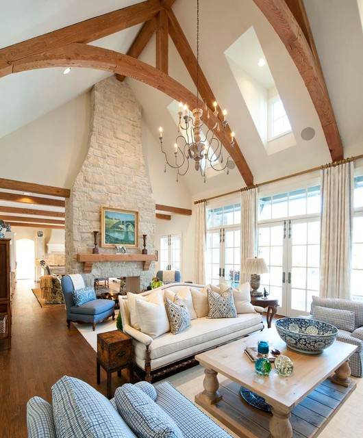 curry and company Living Room Traditional with area rug beams blue