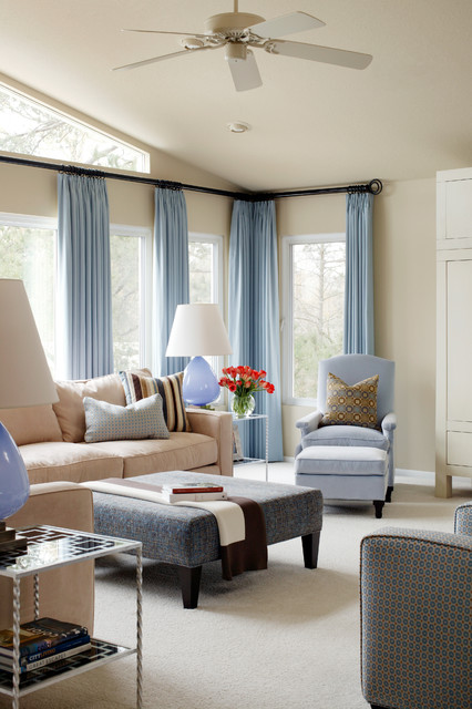 Curtain Brackets Living Room Transitional with Blue and Brown Blue