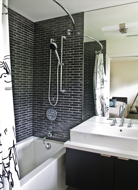 Curved Shower Rods Bathroom Modern with Black and White Dark