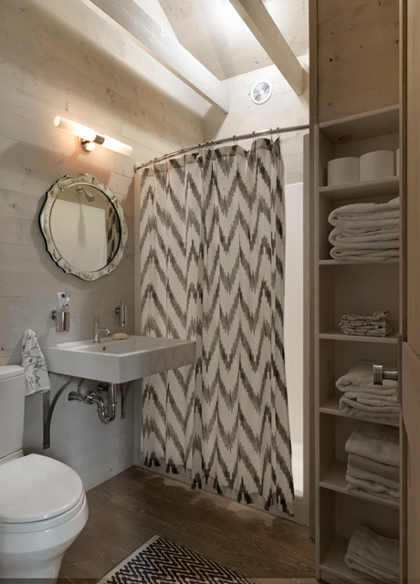 curved shower rods Bathroom Rustic with black and white rug