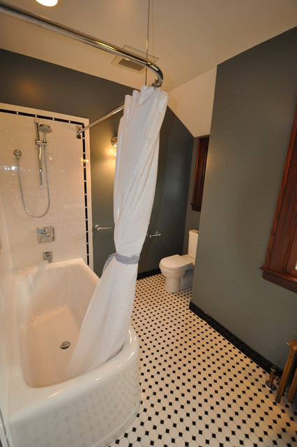 Curved Shower Rods Bathroom Traditional with Baseboards Black and White