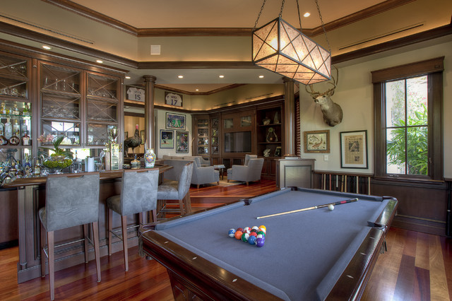 Custom Pool Table Felt Family Room Traditional with Bar Counter Stools Glas