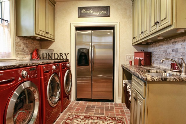 Danby Chest Freezer Laundry Room Traditional with Brick Floor Exotic Granite