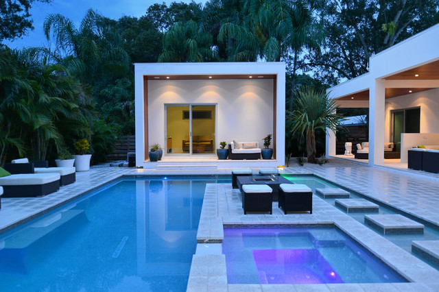 darby furniture Pool Contemporary with contemporary pool covered patio