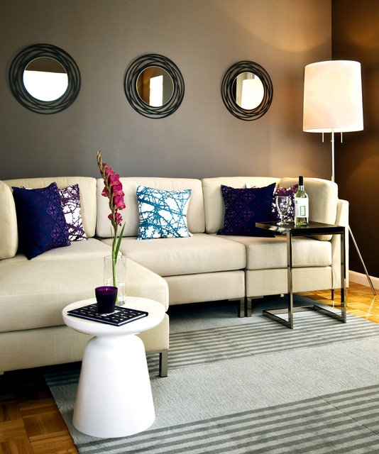 Davenport Sofa Family Room Contemporary with Accent Wall Area Rug