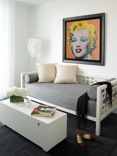 Daybed Mattress Family Room Modern with Black and White Tones