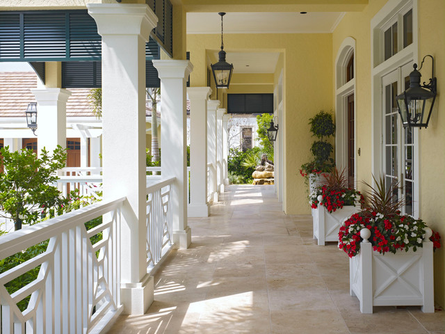 Deck Rail Planters Porch Traditional with British Colonial Chippendale Railing