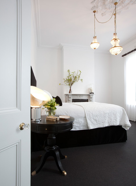 Deco Breeze Bedroom Contemporary with Black and White Ceiling