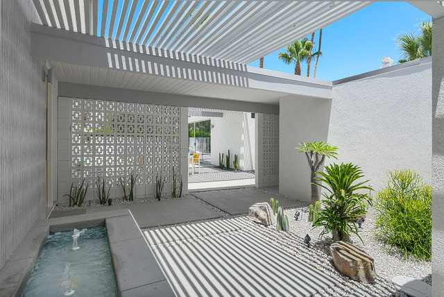 deco breeze Landscape Midcentury with deco entry fountain Palm