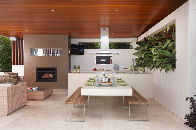 Dedon Furniture Patio Contemporary with Beige Tile Floor Cantilevered