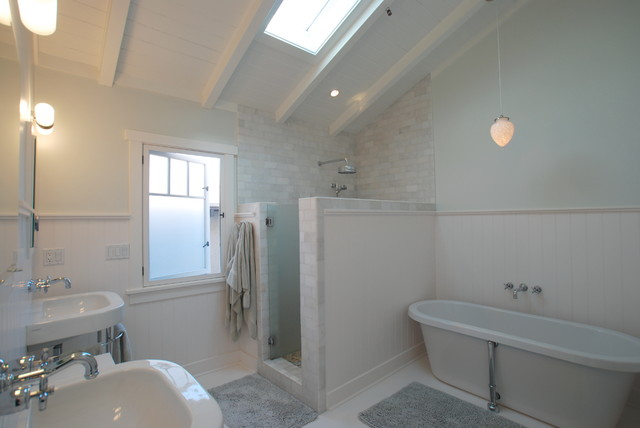 Delta Monitor Shower Bathroom Tropical with Casement Windows Double Sinks