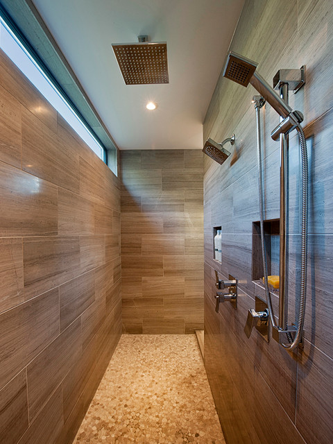 Delta Shower Faucet Bathroom Contemporary with Antique Travertine Honed Brown