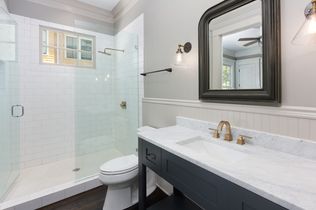 Delta Shower Faucets Bathroom Traditional with Beadboard Black Frame Chair