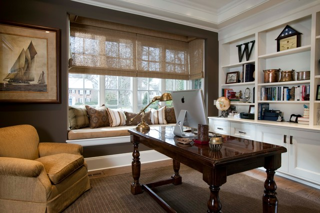 Desk Grommet Home Office Traditional with Area Rug Armchair Bookshelves