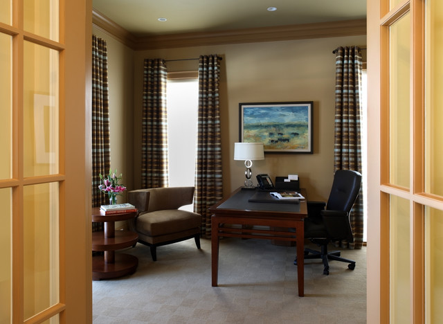 Desk Grommet Home Office Traditional with Artwork Curtains Drapes End