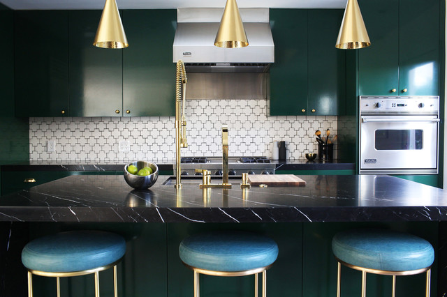 Dexter Russell Knives Kitchen Contemporary with Ann Sacks Tile Black