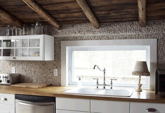 Dexter Russell Knives Kitchen Contemporary with Back Splash Kitchen Pebbles