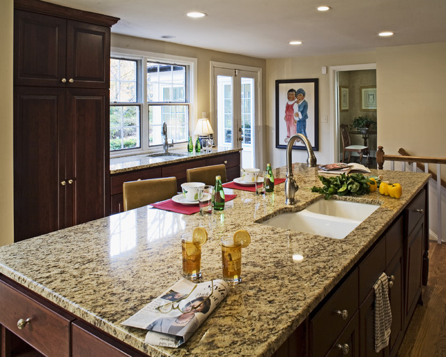 Discount Granite Countertops Kitchen Traditional with Breakfast Bar Ceiling Lighting