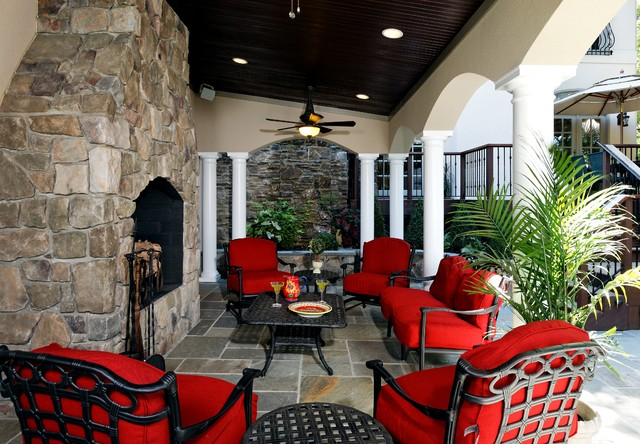 Discount Patio Cushions Patio Traditional with Archway Ceiling Fan Columns