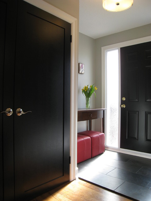 Do It Yourself Spray Foam Insulation Entry Traditional with Black Door Black Front