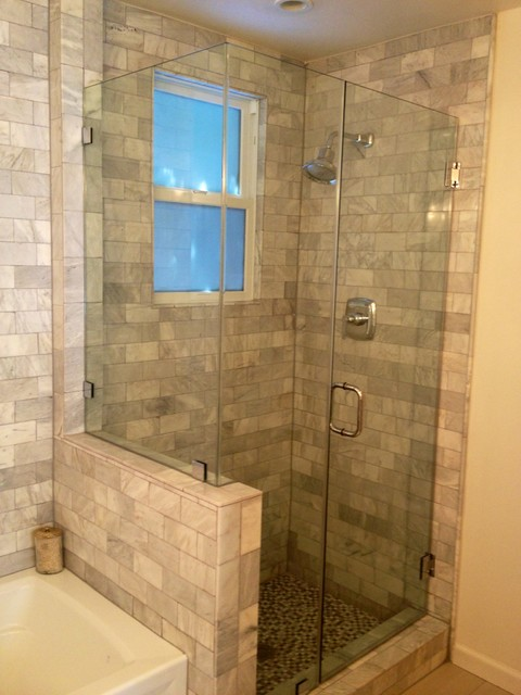 Dog Crate Covers Bathroom Traditional with Brushed Nickel Hardware Clear