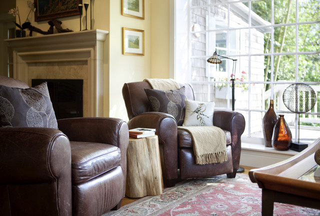 Dual Reclining Loveseat Living Room Traditional with Brown Leather Chair Fireplace