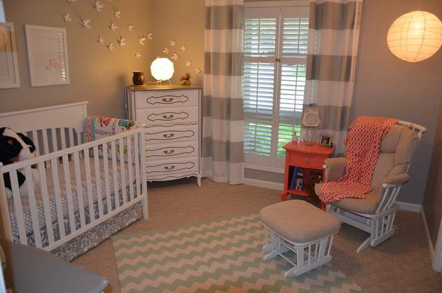 Dutailier Kids Eclectic with Chevron Rug Coral Gray