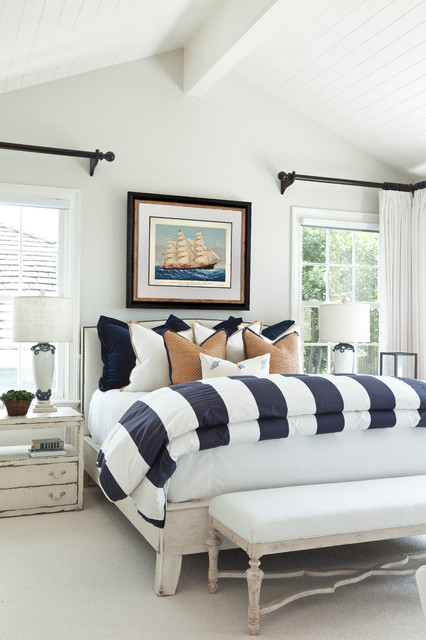 Eastern Accents Bedding Bedroom Beach with Black Curtain Rod Blue
