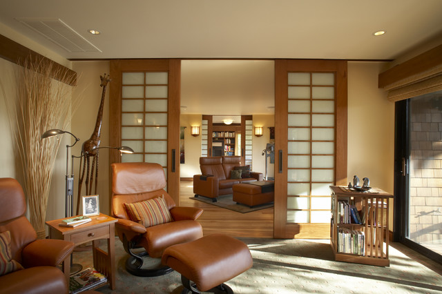 Ekornes Living Room Asian with Bookcase Ceiling Lighting End