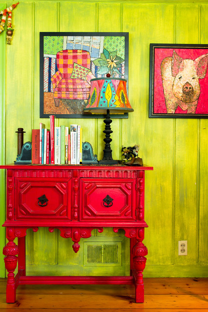 El Dorado Furniture Outlet Hall Farmhouse with Books Bright Green Wall