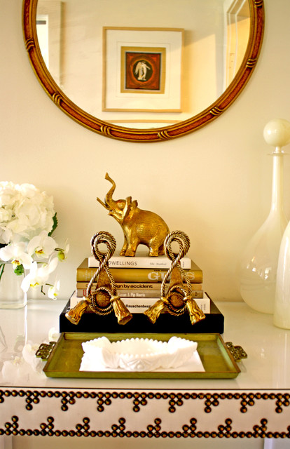 Elephant Bookends Pool Eclectic with Antique Elephant Gold Modern