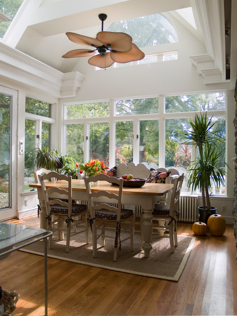 Ellington Fans Dining Room Traditional with Arched Window Breakfast Room