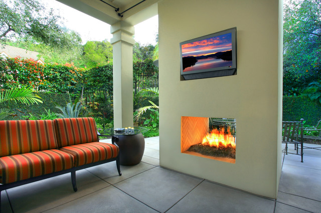 empire fireplaces Patio Modern with bench seat column concrete