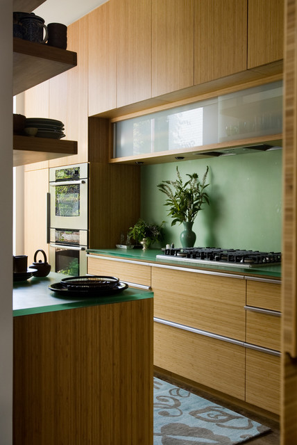 Epoxy Resin Countertops Kitchen Contemporary with Acrylic Bamboo Cabinets Floral