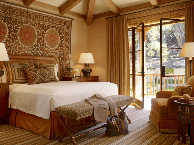 European Pillow Shams Bedroom Traditional with African Antique Area Rug
