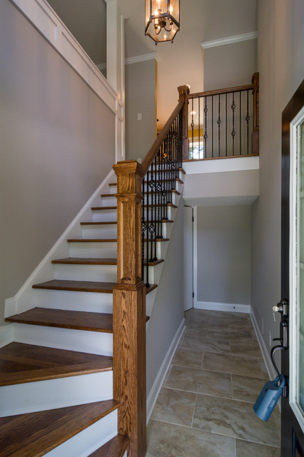 Express Homebuyers Staircase Transitional with Blown Glass Light Craftsman