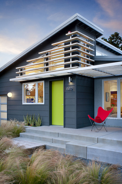 Exterior Paint Visualizer Exterior Midcentury with Charcoal Siding Concrete Flowerbed