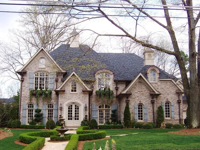 Exterior Vinyl Shutters Exterior Traditional with Arched Windows Brick Fountain