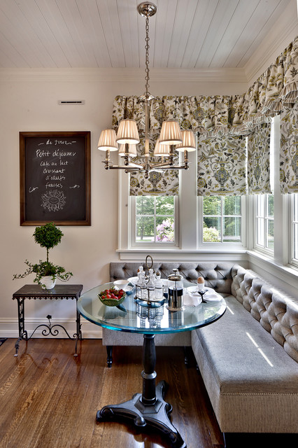 Fabric Roller Shades Dining Room Traditional with Banquette Breakfast Nook Cafe