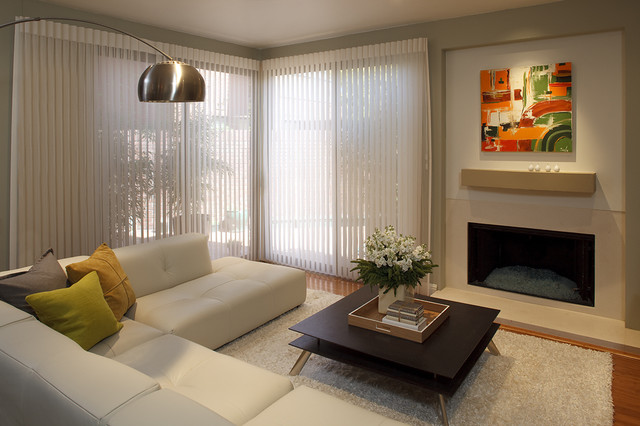 Fabric Vertical Blinds Living Room Contemporary with Abstract Painting Arco Lamp