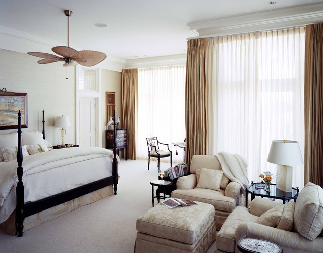 Fanimation Fans Bedroom Traditional with Beige Wall Black Bed