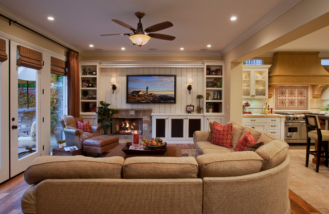 Faux Leather Sectional Family Room Traditional with Beige Bead Board Beige