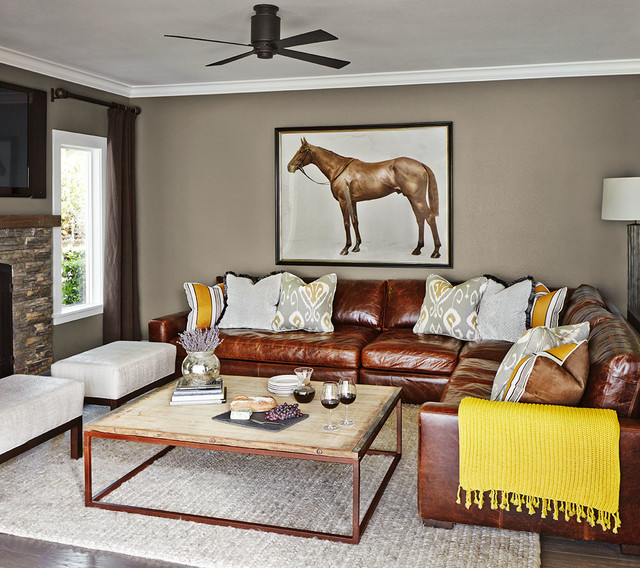 Faux Leather Sectional Living Room Transitional with Braided Rug Ceiling Fan